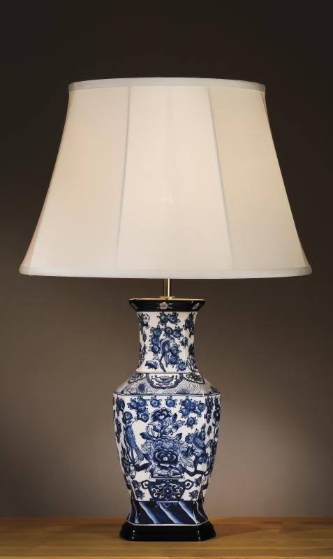 Stolní lampa blue hexagon vase