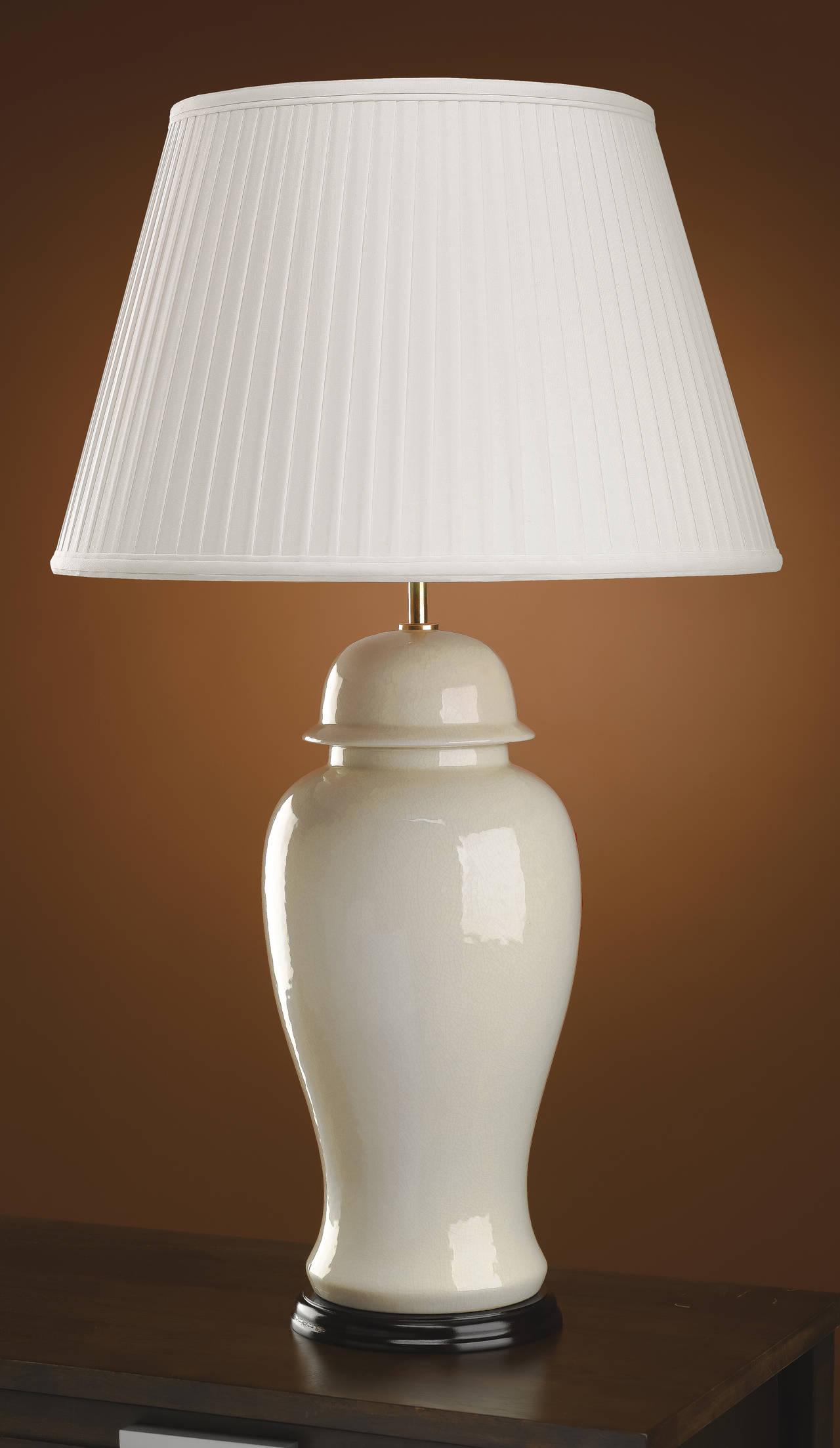 Stolní lampa ivory crackle large